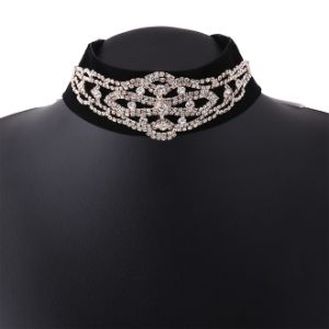 Fashion Vintage Velvet Designer Rhinestone Diamond Choker Necklace Jewelry pictures & photos