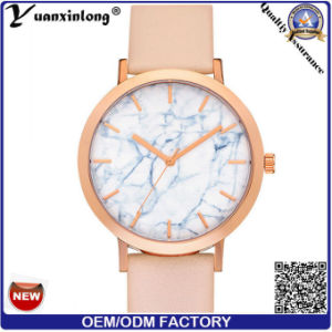 Yxl-044 Newest Hot Sale Marble Stone Face Watch Good Quality Leather Vogue Wrist Watch Lady Quartz Stainless Steel Back Watches Women Men pictures & photos