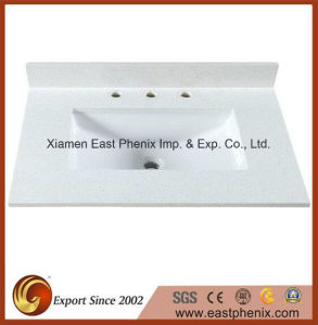 White Quartz Vanity Top for Hotel/ Commercial Project pictures & photos