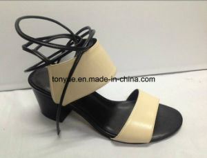 Lady Kid Leather Square Heel Women Sandals Take The Rope pictures & photos