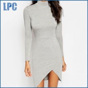 Long Sleeve Elegant Evening Dress with Front Vent for Women pictures & photos