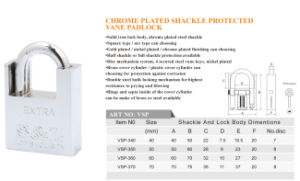 Chrome/Nickel Plated Shackle Protected Square Type Vane Key Padlock pictures & photos
