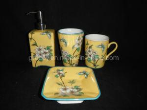 Hand Painted 4PCS Ceramic Bathroom Set