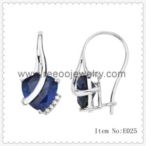 Sterling Silver Sapphire Stud Fashion Earring, Marcasite CZ Levelback Earrings