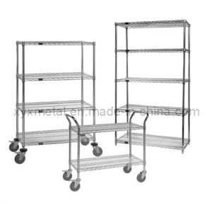 Chrome Steel Wire Shelving Cart with Wire Shelf pictures & photos