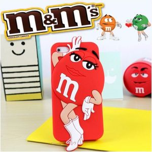 Cute 3D M&M Rainbow Beans Chocolate Protective Case for iPhone 4S 5s