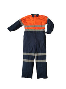 Bi-Color Cotton Working Overall with Reflective Bands (HS-O014)