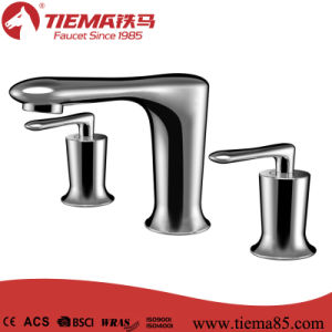 Three-Hole Modern Brass Basin Faucet (ZS80307)