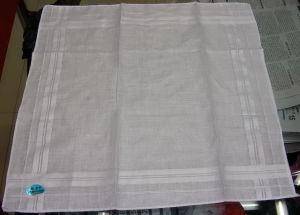 Plain White Brocade Handkerchief 100% Cotton