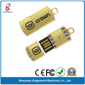 Golden Metal Mini USB Memory Stick with Diamond Decoration (KW-0359) pictures & photos