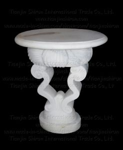 White Marble Small Table Stood (XF063) pictures & photos