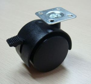 Twin Wheel Furniture Caster With Brake, Nylon Caster With Plate