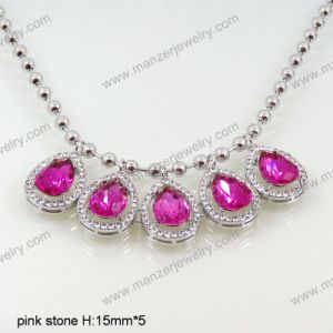 Fashion Jewelry Accessories Silver Chain with CZ Crystal Pendant for Wedding Necklace