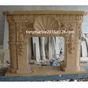 Beige Stone Carved Marble Fireplace Mantel Surround (SY-MF007) pictures & photos