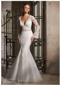 Lace Net Diamante Beaded Trim Long Sleeve Bridal Wedding Dresses (2701) pictures & photos