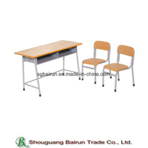 School Furniture Metal Frame Panel Table Student Desk and Chair pictures & photos
