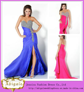 Sexy New Mermaid Taffeta High Slit Beaded Sweetheart Zipper Back Sleeveless Ladies Long Evening Party Wear Gown Yj0056
