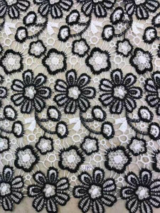 Fashion Double Colors 100% Polyester Lace Fabric Garment Accessorie for Dress 0012 pictures & photos