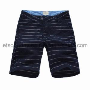 Navy Blue 100% Cotton Men′s Stripe Shorts (BS14-0367) pictures & photos