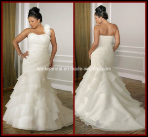Plus Size One Shoulder Bridal Gown Mermaid White Organza Wedding Dress Rr9005 pictures & photos
