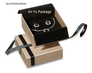 Gold Gift Paper Jewelry Box with Black Ribbon for Jewelry Set pictures & photos