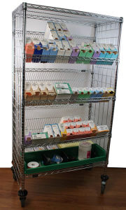 NSF Metal Slanted Display Shelving Rack for Hospital/Drugstore pictures & photos