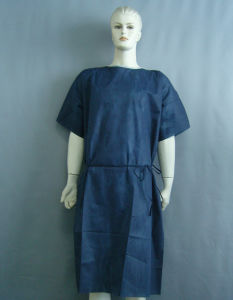 Dark Blue Disposable SMS Non-Woven Hospital Patient Gown pictures & photos