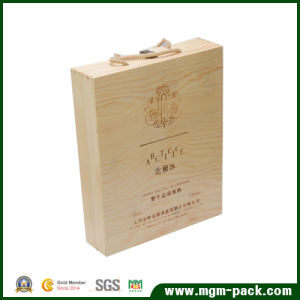 Rectangle Waterproof Wooden Wine Box with Handle pictures & photos