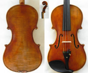 Master Violin 4/4! Guarneri Del Gesu 1742 Cannone Violin Model! Antiqued Varnish! Nice Flame Back Violin! (RH-600)