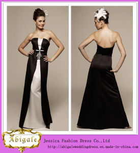 2014 New Designer Elegant Simple Sheath Strapless Low Back Floor Length Satin Black White Dresses for Bridesmaids (MN1365)
