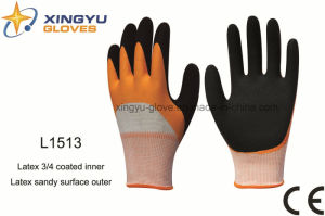 Polyester Shell Latex 3/4 Coated Inner Latex Sandy Coated Outer Safety Work Glove (L1513) pictures & photos