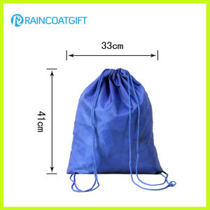 Custom Logo Printed Promotional Nylon Drawstring Backpack pictures & photos