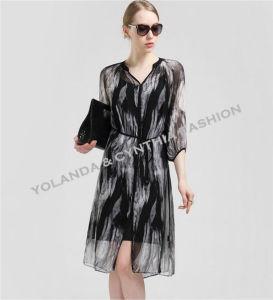 Fashion Ol Printed Silk Ladies Dress