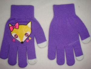 Fashion Five Fingers Acrylic Printed Girl Glove pictures & photos