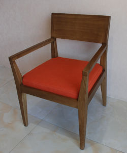 Solid Wood Arm Chairs with Fabric Seat for Interior Restaurant Use pictures & photos