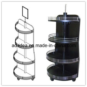 180 Degree MDF Floor Wooden Wine Display Stand pictures & photos