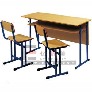 High Quality Double Student Desk and Chair for Sale pictures & photos