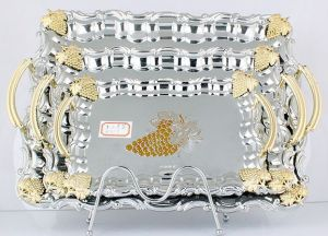 Stainless Steel Serving Tray/Plate in Silver and Golden (LFC10709-1) pictures & photos