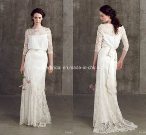Sheath Bridal Gowns Sash Boat Neck Lace Wedding Dresses Z8027 pictures & photos