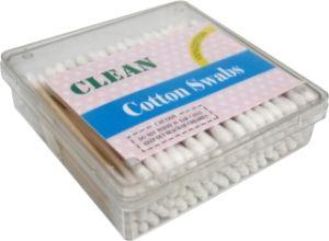 100PCS Square Box Wooden Stick Swabs Disposable Cotton Buds