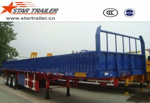 3 Axles Flatbed Semi Trailer with Side Walls pictures & photos