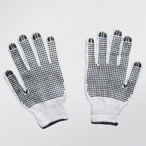 7g String Knit PVC Dots on Both Sides Work Glove pictures & photos