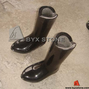 Shanxi Black Boot Shape Flower Vase for Cemetery pictures & photos
