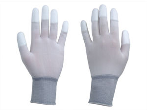 Nylon Liner Finger Tip PU Glove pictures & photos