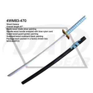 "47"" Wood Katana with Silver Painting Blade: 4wm83-470 pictures & photos"