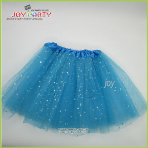 Blue Organza Party Skirt with Siver Star