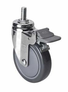 "Edl Chrome 4"" 80kg Threaded Brake PU Caster 3744-77"