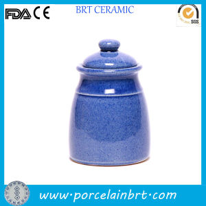 Tall Polished Blue Design Tea Canister pictures & photos