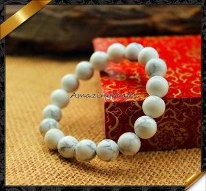 Fashion Stone Charms Bracelet, White Turquoise Beaded Bracelets (LW065)