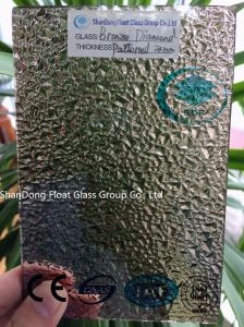 Bronze Diamond Patterned Glass with Ce, ISO (3-8mm) pictures & photos